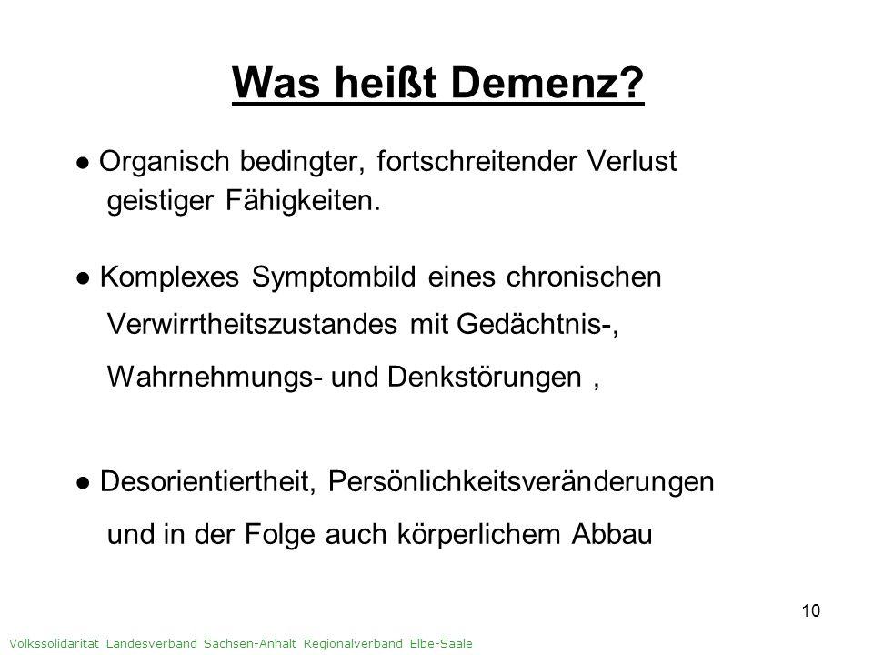 11 Volkssolidarität Landesverband Sachsen-Anhalt Regionalverband Elbe-Saale Was heißt Demenz für Angehörige.