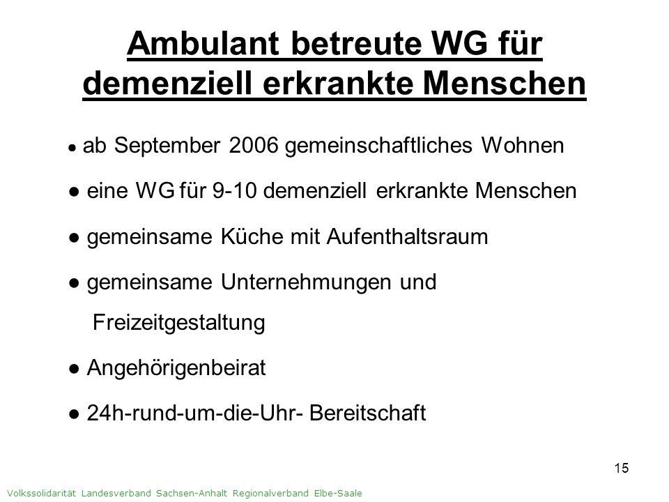 16 Volkssolidarität Landesverband Sachsen-Anhalt Regionalverband Elbe-Saale Zusammenarbeit demenziell erkrankte Menschen Pflegestufe (1)2-3 Angehörige/ Angehörigen- Beirat ambulanter Pflegedienst