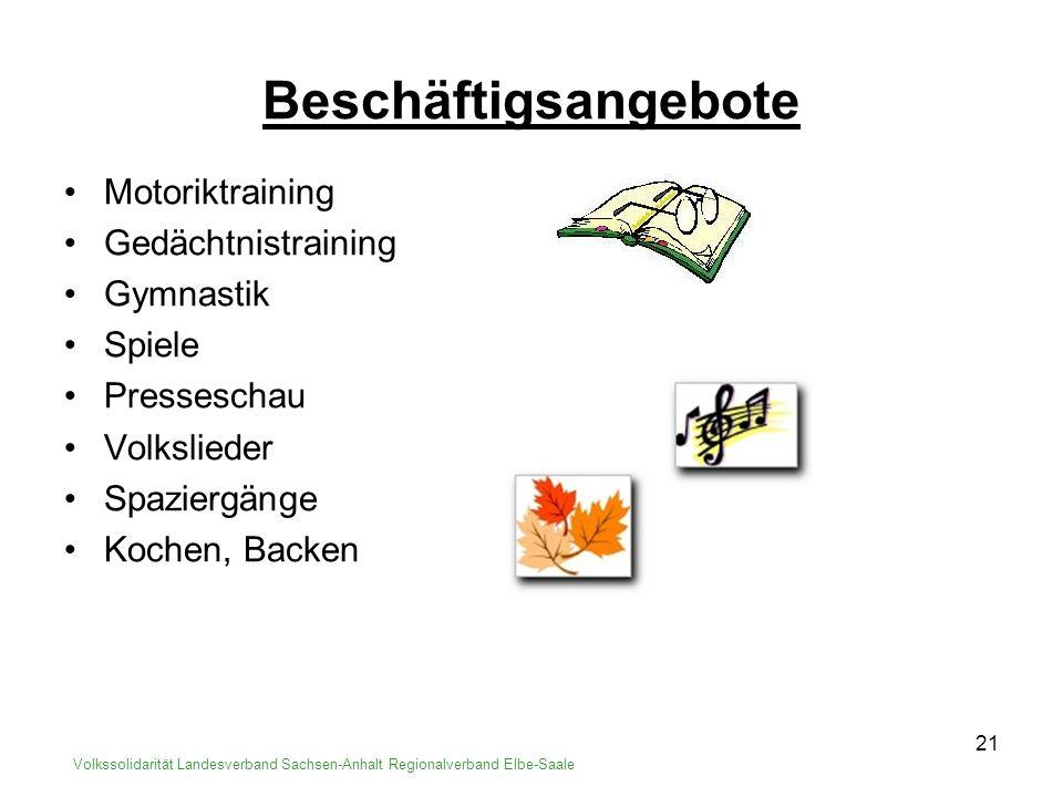 22 Volkssolidarität Landesverband Sachsen-Anhalt Regionalverband Elbe-Saale Kosten Mietvertrag der SWB Individueller Pflegevertrag Haushaltsgeld Topf ca.