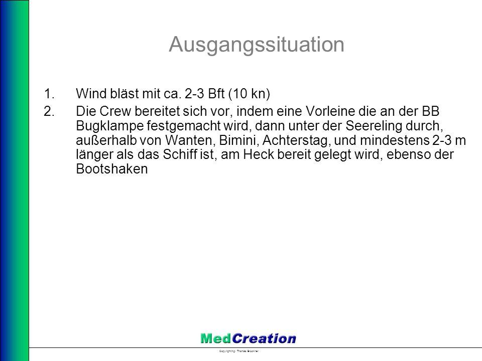 Copyright Ing. Thomas Brückner Ausgangssituation 1.Wind bläst mit ca. 2-3 Bft (10 kn) 2.Die Crew bereitet sich vor, indem eine Vorleine die an der BB