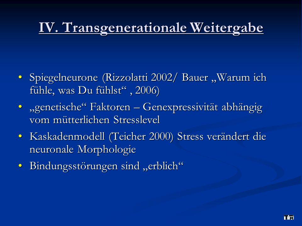 IV. Transgenerationale Weitergabe Spiegelneurone (Rizzolatti 2002/ Bauer Warum ich fühle, was Du fühlst, 2006)Spiegelneurone (Rizzolatti 2002/ Bauer W