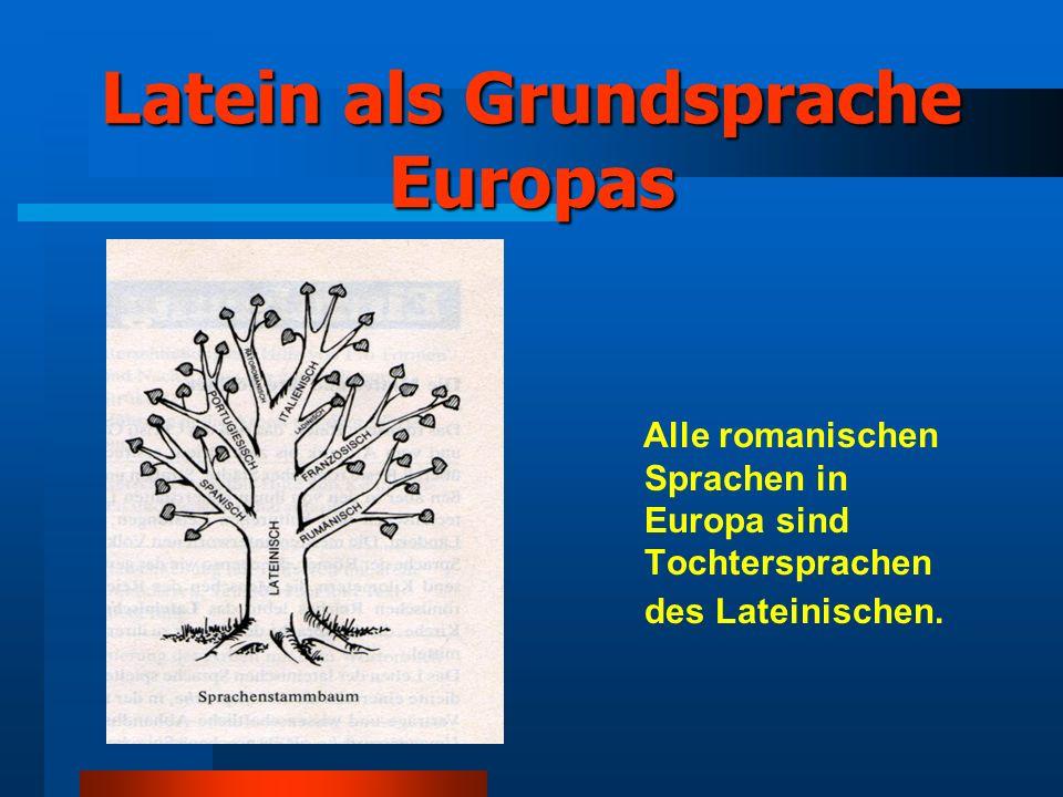 Latein als Grundsprache Europas Alle romanischen Sprachen in Europa sind Tochtersprachen des Lateinischen.