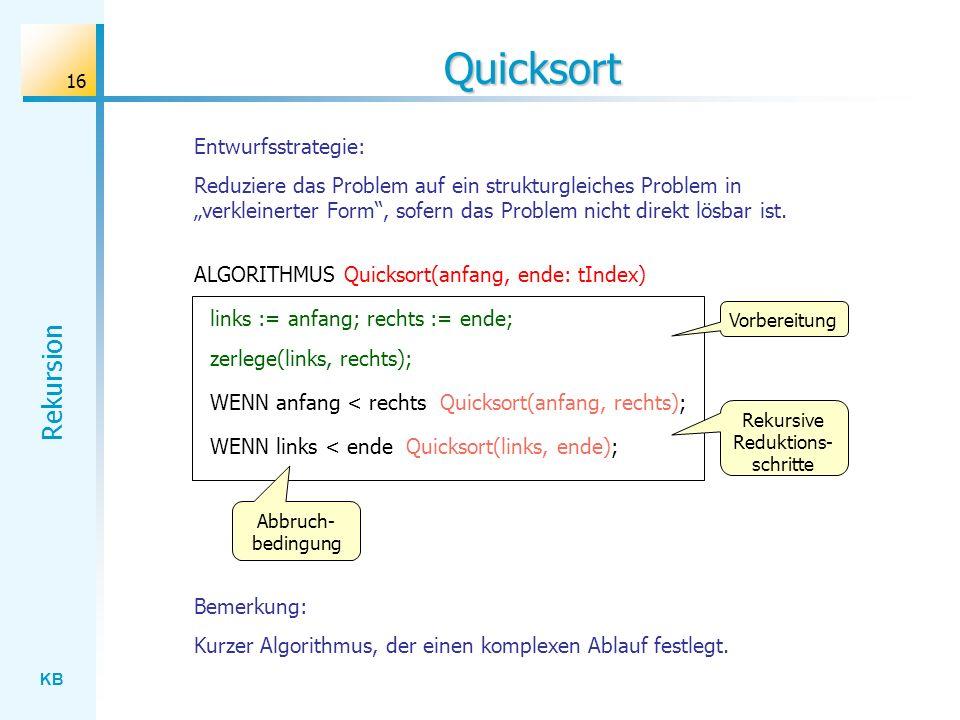 KB Rekursion 16 Quicksort ALGORITHMUS Quicksort(anfang, ende: tIndex) zerlege(links, rechts); WENN anfang < rechts Quicksort(anfang, rechts); WENN lin
