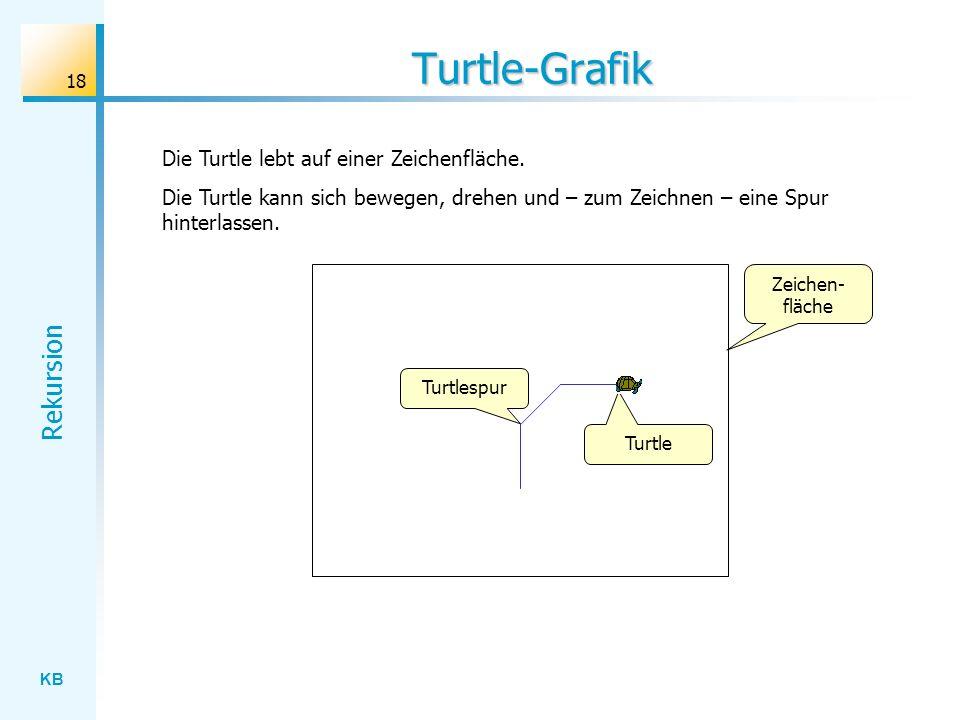 KB Rekursion 18 Turtle-Grafik Die Turtle lebt auf einer Zeichenfläche. Die Turtle kann sich bewegen, drehen und – zum Zeichnen – eine Spur hinterlasse