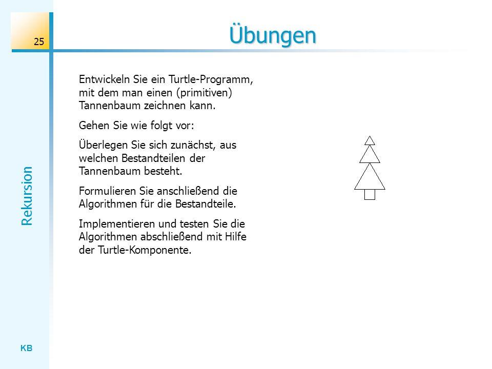 KB Rekursion 25 Übungen Entwickeln Sie ein Turtle-Programm, mit dem man einen (primitiven) Tannenbaum zeichnen kann. Gehen Sie wie folgt vor: Überlege