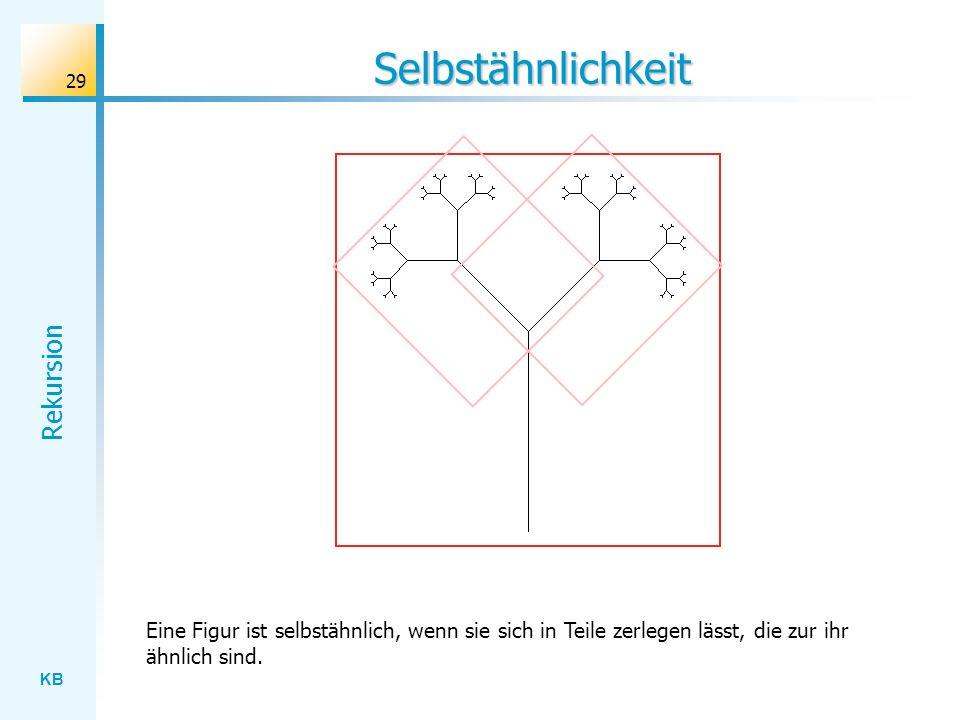 KB Rekursion 29 Selbstähnlichkeit Eine Figur ist selbstähnlich, wenn sie sich in Teile zerlegen lässt, die zur ihr ähnlich sind.