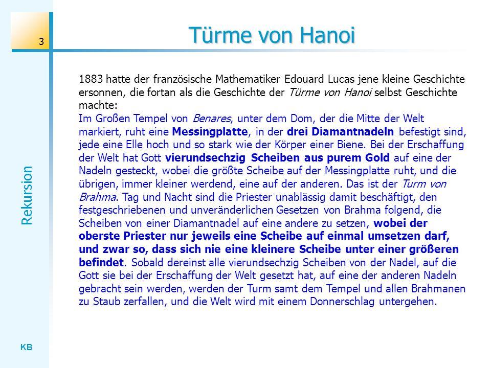 KB Rekursion 3 Türme von Hanoi 1883 hatte der französische Mathematiker Edouard Lucas jene kleine Geschichte ersonnen, die fortan als die Geschichte d
