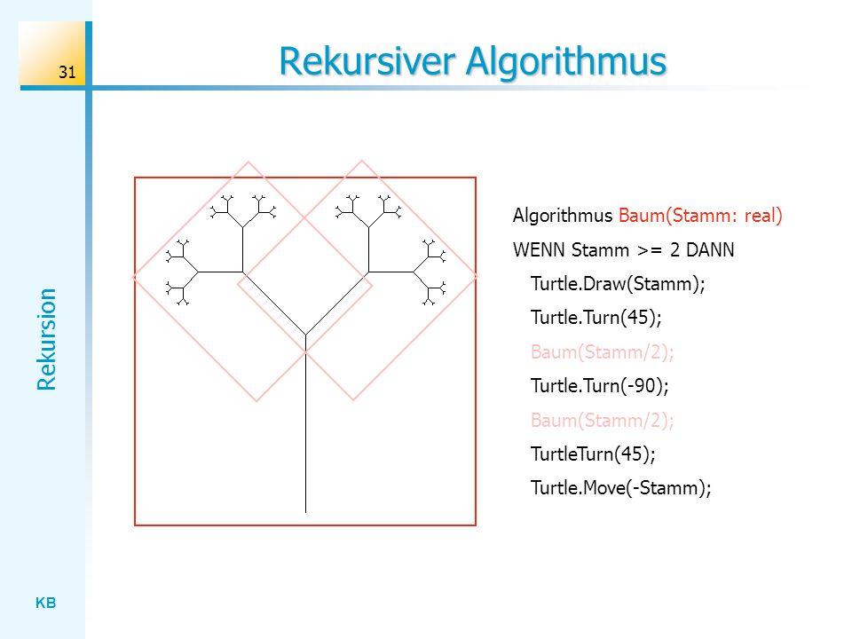 KB Rekursion 31 Rekursiver Algorithmus Algorithmus Baum(Stamm: real) WENN Stamm >= 2 DANN Turtle.Draw(Stamm); Turtle.Turn(45); Baum(Stamm/2); Turtle.T