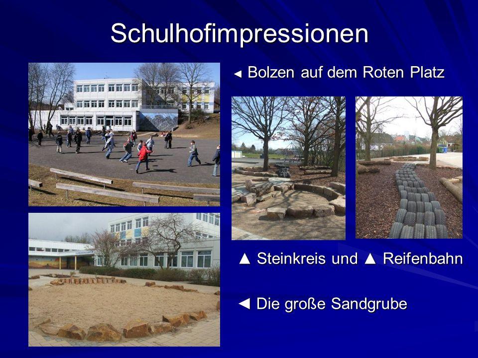 Schulhofimpressionen Bolzen auf dem Roten Platz Bolzen auf dem Roten Platz Steinkreis und Reifenbahn Steinkreis und Reifenbahn Die große Sandgrube Die