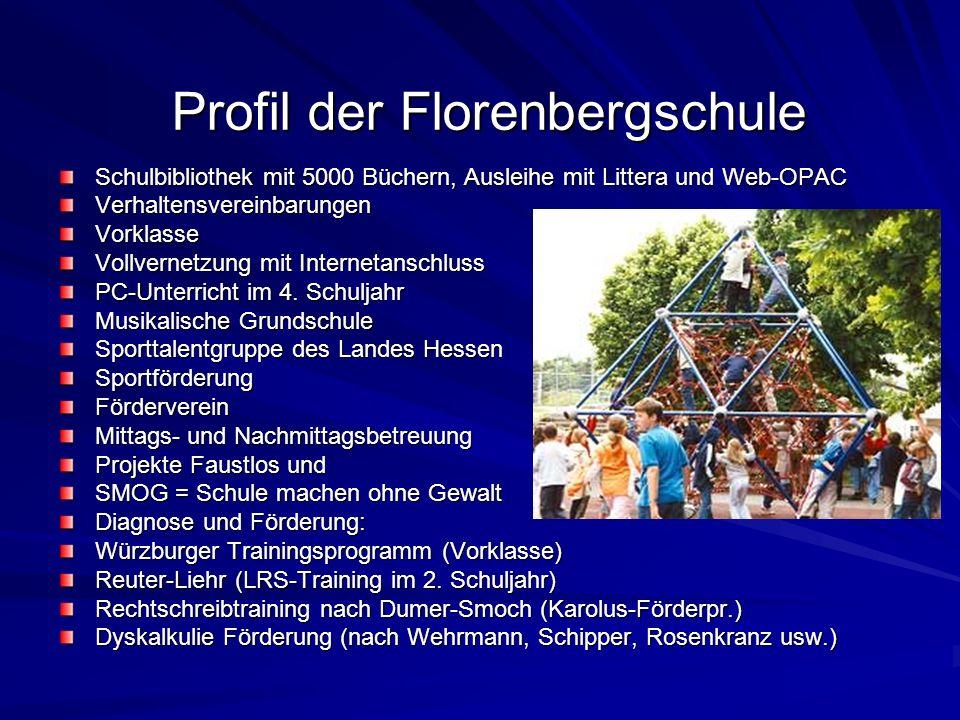 Profil der Florenbergschule Schulbibliothek mit 5000 Büchern, Ausleihe mit Littera und Web-OPAC VerhaltensvereinbarungenVorklasse Vollvernetzung mit Internetanschluss PC-Unterricht im 4.