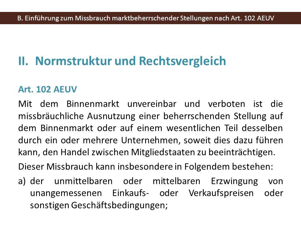 II.Normstruktur und Rechtsvergleich Art. 102 AEUV Mit dem Binnenmarkt unvereinbar und verboten ist die missbräuchliche Ausnutzung einer beherrschenden