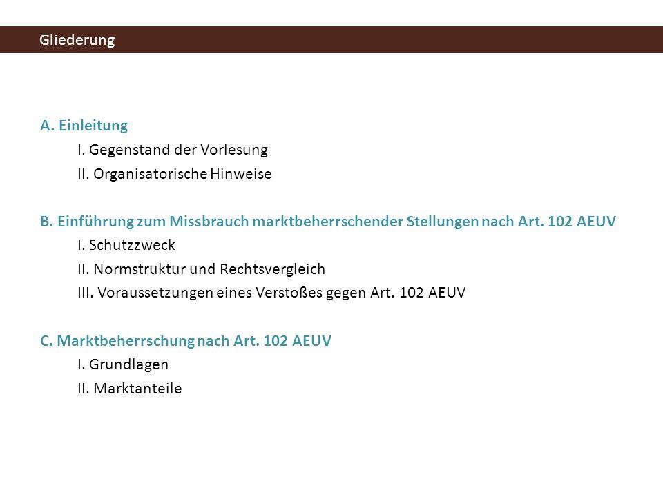 II.Organisatorische Hinweise Literatur Kling/Thomas, Kartellrecht, 2007.