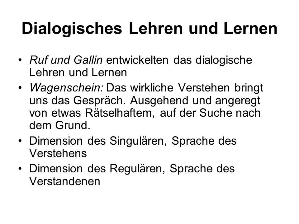 Dialogisches Lehren und Lernen Ruf und Gallin entwickelten das dialogische Lehren und Lernen Wagenschein: Das wirkliche Verstehen bringt uns das Gespr