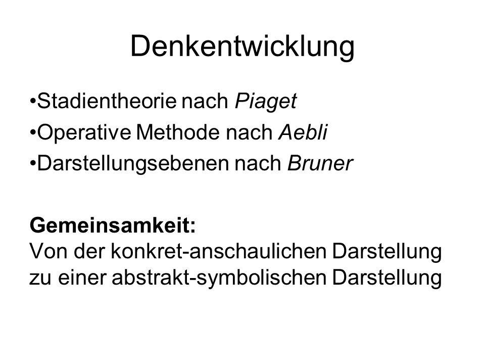 Denkentwicklung Stadientheorie nach Piaget Operative Methode nach Aebli Darstellungsebenen nach Bruner Gemeinsamkeit: Von der konkret-anschaulichen Da
