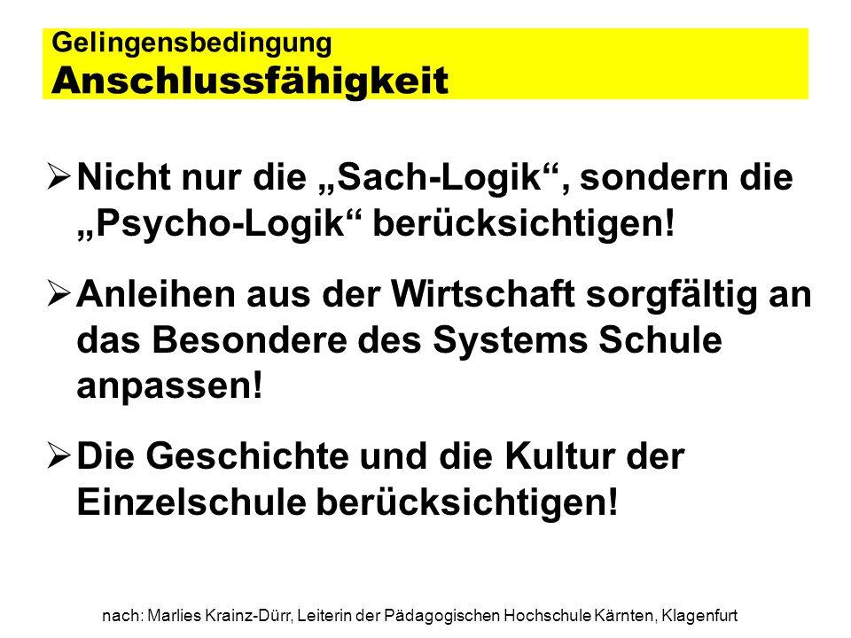 nach: Marlies Krainz-Dürr, Leiterin der Pädagogischen Hochschule Kärnten, Klagenfurt Gelingensbedingung Anschlussfähigkeit Nicht nur die Sach-Logik, s