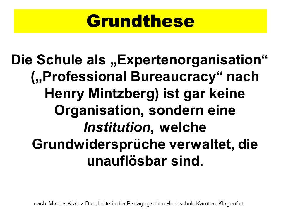 Grundthese Die Schule als Expertenorganisation (Professional Bureaucracy nach Henry Mintzberg) ist gar keine Organisation, sondern eine Institution, w