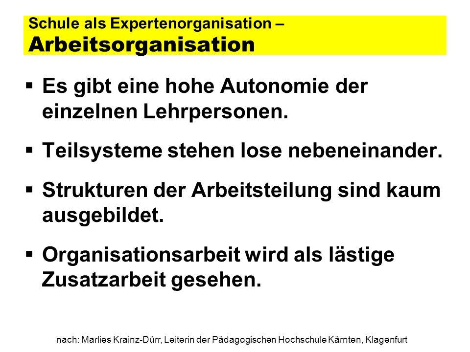 nach: Marlies Krainz-Dürr, Leiterin der Pädagogischen Hochschule Kärnten, Klagenfurt Schule als Expertenorganisation – Mentale Muster / Organisationskultur Handlungsleitend ist die informelle Regel, dass niemand in den Unterricht einer Lehrpersonen direkt eingreifen darf.