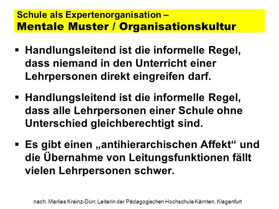 nach: Marlies Krainz-Dürr, Leiterin der Pädagogischen Hochschule Kärnten, Klagenfurt Schule als Expertenorganisation – Mentale Muster / Organisationsk