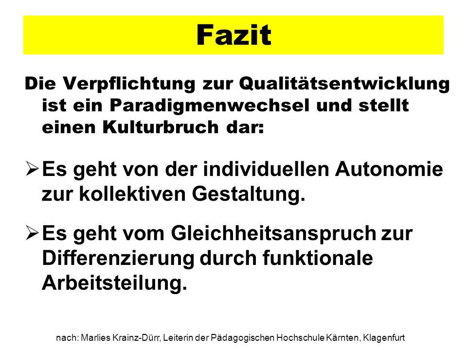 nach: Marlies Krainz-Dürr, Leiterin der Pädagogischen Hochschule Kärnten, Klagenfurt Fazit Die Verpflichtung zur Qualitätsentwicklung ist ein Paradigm