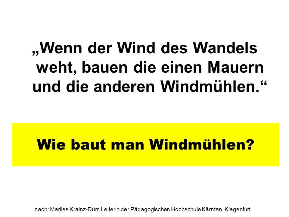 nach: Marlies Krainz-Dürr, Leiterin der Pädagogischen Hochschule Kärnten, Klagenfurt Wie baut man Windmühlen? Wenn der Wind des Wandels weht, bauen di