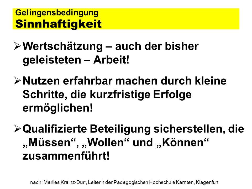 nach: Marlies Krainz-Dürr, Leiterin der Pädagogischen Hochschule Kärnten, Klagenfurt Gelingensbedingung Sinnhaftigkeit Wertschätzung – auch der bisher