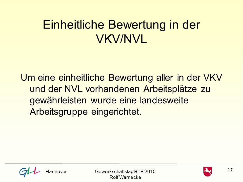 20 Einheitliche Bewertung in der VKV/NVL Um eine einheitliche Bewertung aller in der VKV und der NVL vorhandenen Arbeitsplätze zu gewährleisten wurde