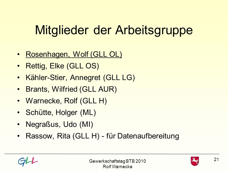 21 Mitglieder der Arbeitsgruppe Rosenhagen, Wolf (GLL OL) Rettig, Elke (GLL OS) Kähler-Stier, Annegret (GLL LG) Brants, Wilfried (GLL AUR) Warnecke, R
