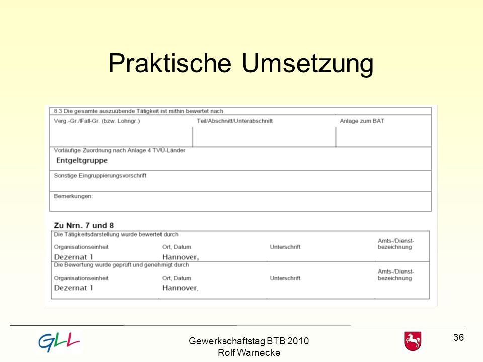 36 Praktische Umsetzung Gewerkschaftstag BTB 2010 Rolf Warnecke