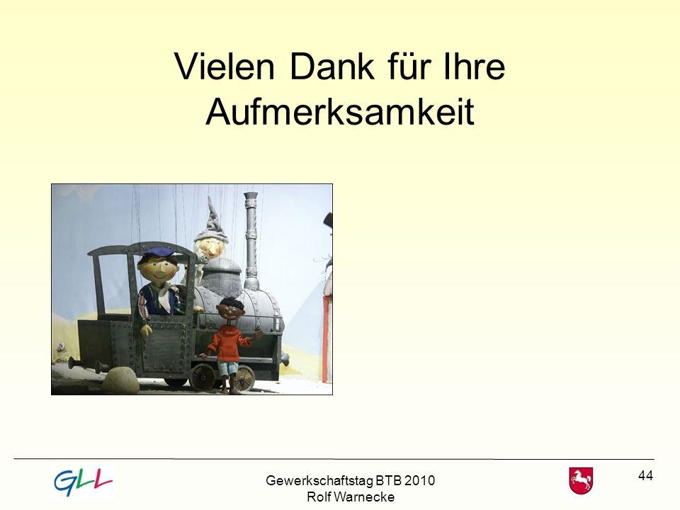 44 Vielen Dank für Ihre Aufmerksamkeit Gewerkschaftstag BTB 2010 Rolf Warnecke