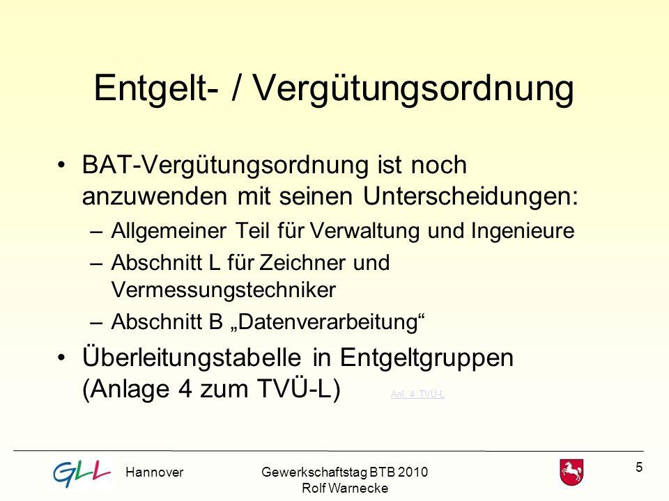 16 Entwicklung der Tätigkeitsmerkmale Vermessungstechniker, Landkartentechniker, Planungstechniker Teil II Abschnitt L Unterabschnitt VII der Anlage 1 a zum BAT VergGr.