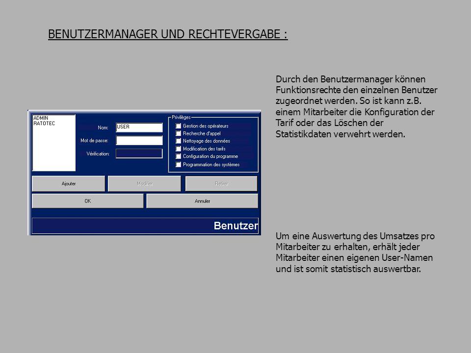 BENUTZERMANAGER UND RECHTEVERGABE : Durch den Benutzermanager können Funktionsrechte den einzelnen Benutzer zugeordnet werden.