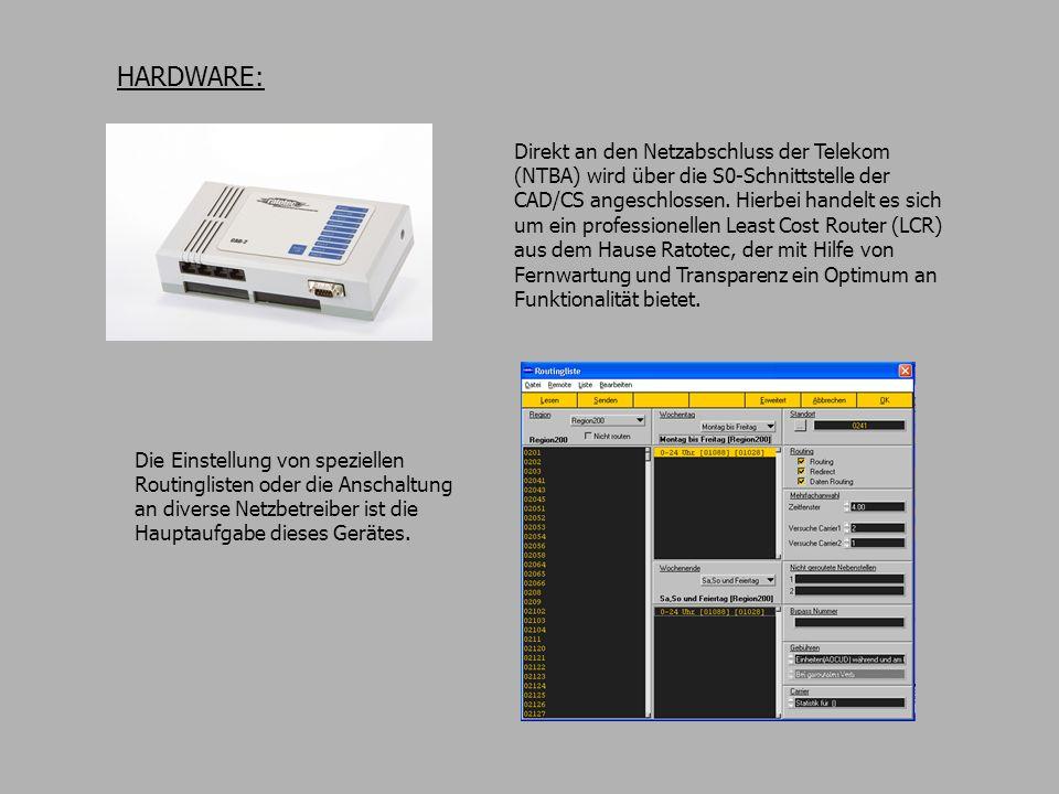 HARDWARE: Direkt an den Netzabschluss der Telekom (NTBA) wird über die S0-Schnittstelle der CAD/CS angeschlossen. Hierbei handelt es sich um ein profe