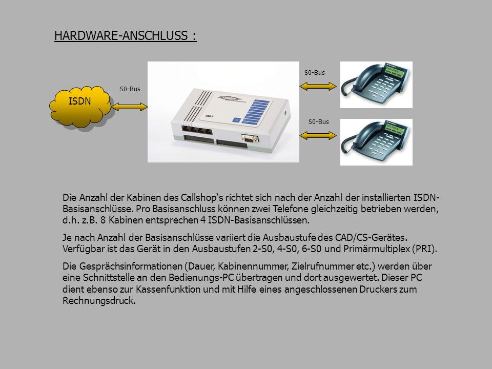 Die Anzahl der Kabinen des Callshops richtet sich nach der Anzahl der installierten ISDN- Basisanschlüsse. Pro Basisanschluss können zwei Telefone gle