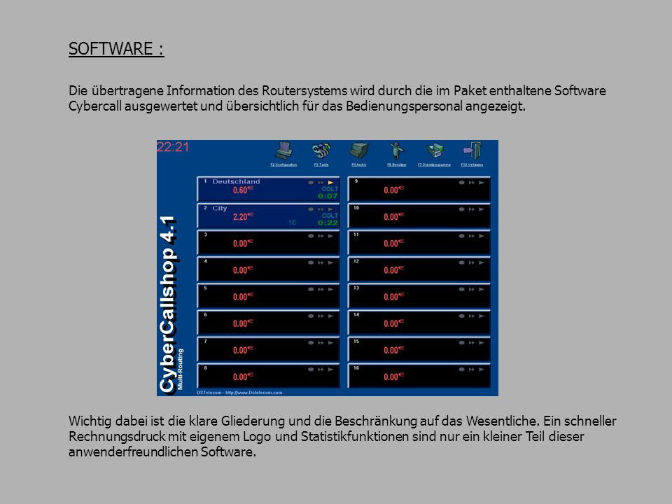 SOFTWARE : Die übertragene Information des Routersystems wird durch die im Paket enthaltene Software Cybercall ausgewertet und übersichtlich für das B