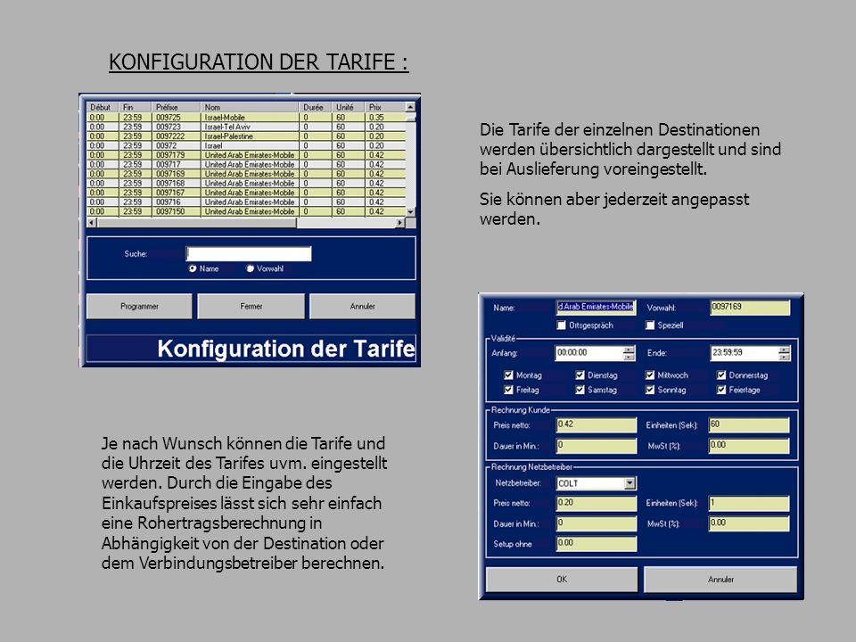 KONFIGURATION DER TARIFE : Die Tarife der einzelnen Destinationen werden übersichtlich dargestellt und sind bei Auslieferung voreingestellt.