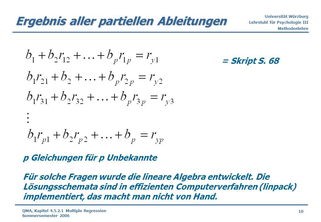 Universität Würzburg Lehrstuhl für Psychologie III Methodenlehre 10 QMA, Kapitel 4.5.2.1 Multiple Regression Sommersemester 2006 Ergebnis aller partie