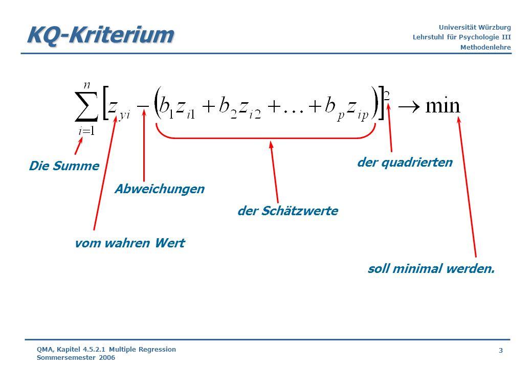 Universität Würzburg Lehrstuhl für Psychologie III Methodenlehre 3 QMA, Kapitel 4.5.2.1 Multiple Regression Sommersemester 2006 KQ-Kriterium Abweichun