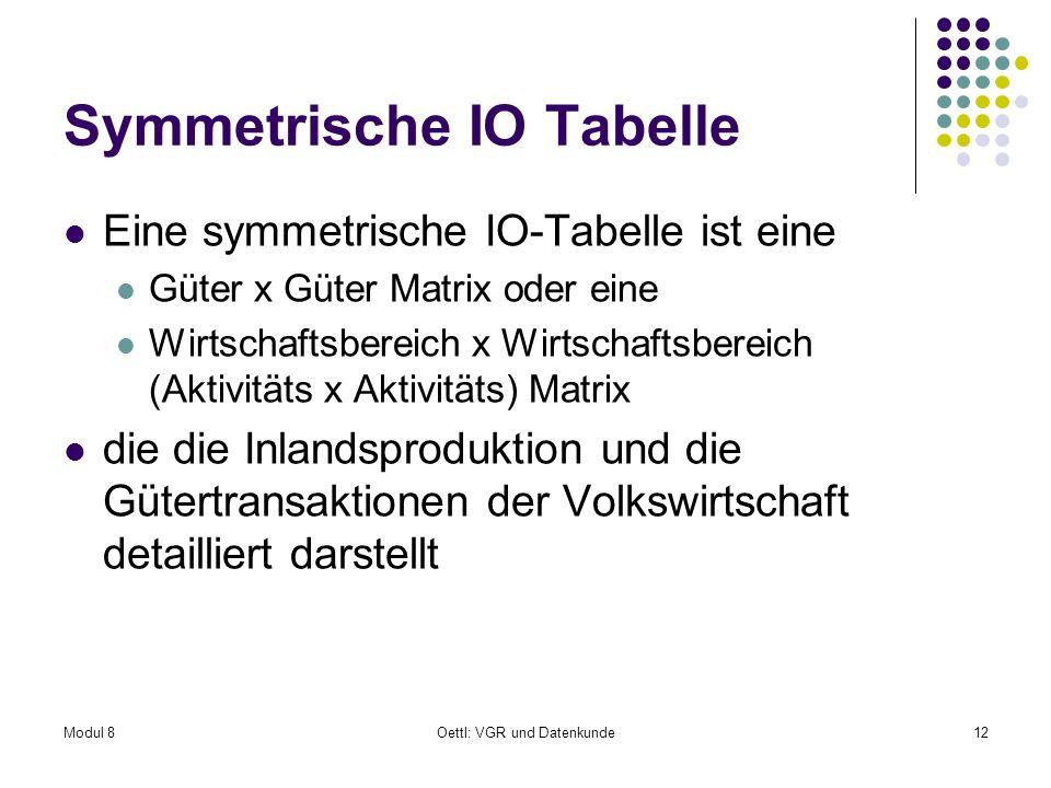 Modul 8Oettl: VGR und Datenkunde12 Symmetrische IO Tabelle Eine symmetrische IO-Tabelle ist eine Güter x Güter Matrix oder eine Wirtschaftsbereich x W