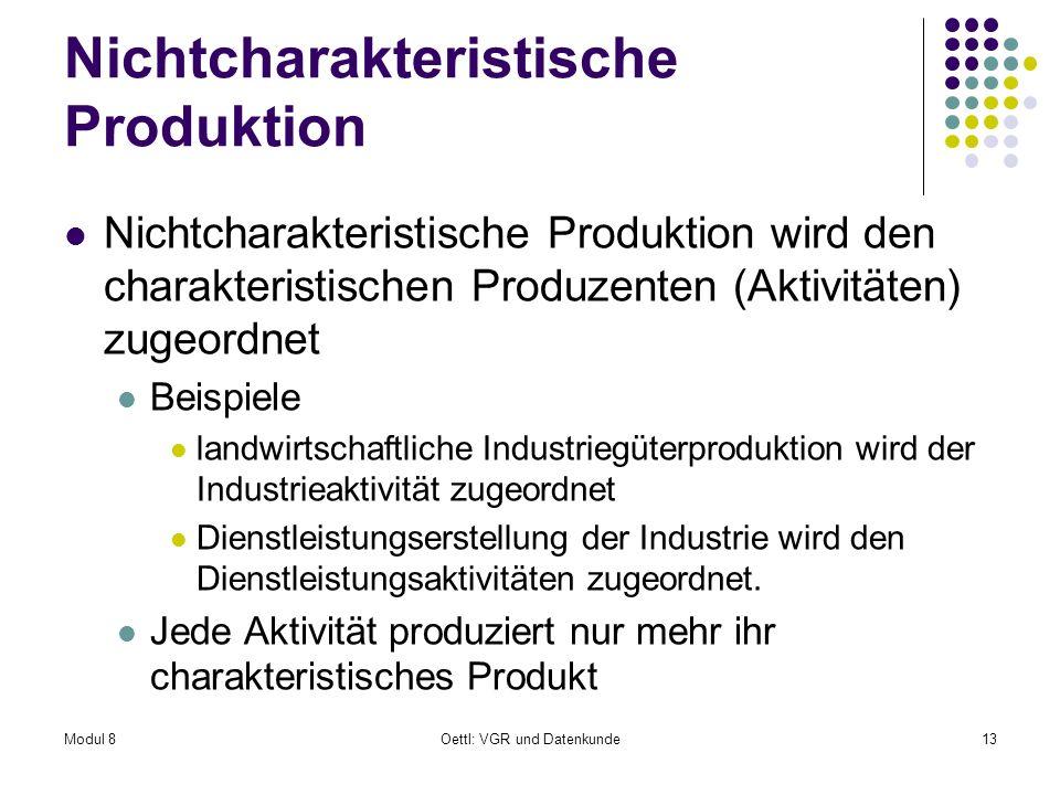 Modul 8Oettl: VGR und Datenkunde13 Nichtcharakteristische Produktion Nichtcharakteristische Produktion wird den charakteristischen Produzenten (Aktivi
