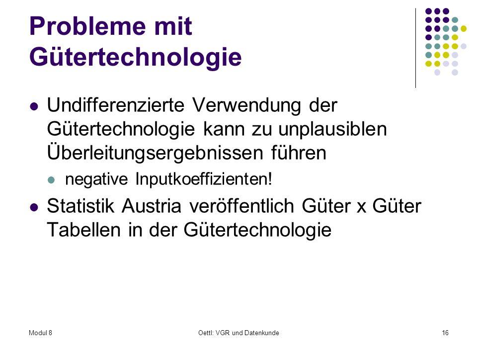 Modul 8Oettl: VGR und Datenkunde16 Probleme mit Gütertechnologie Undifferenzierte Verwendung der Gütertechnologie kann zu unplausiblen Überleitungserg