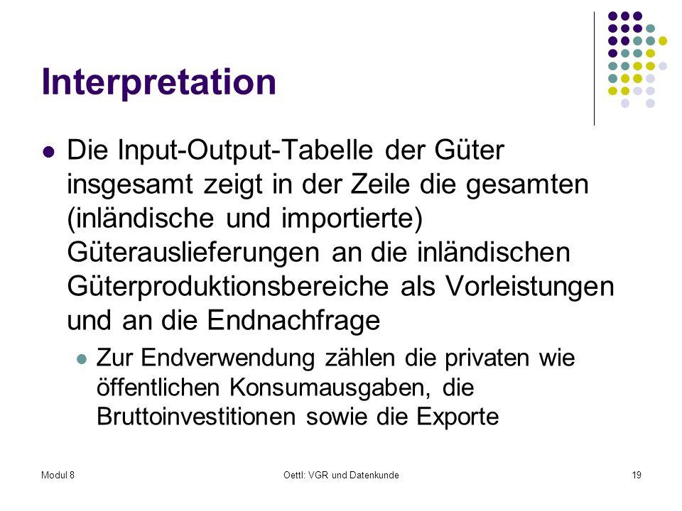 Modul 8Oettl: VGR und Datenkunde19 Interpretation Die Input-Output-Tabelle der Güter insgesamt zeigt in der Zeile die gesamten (inländische und import