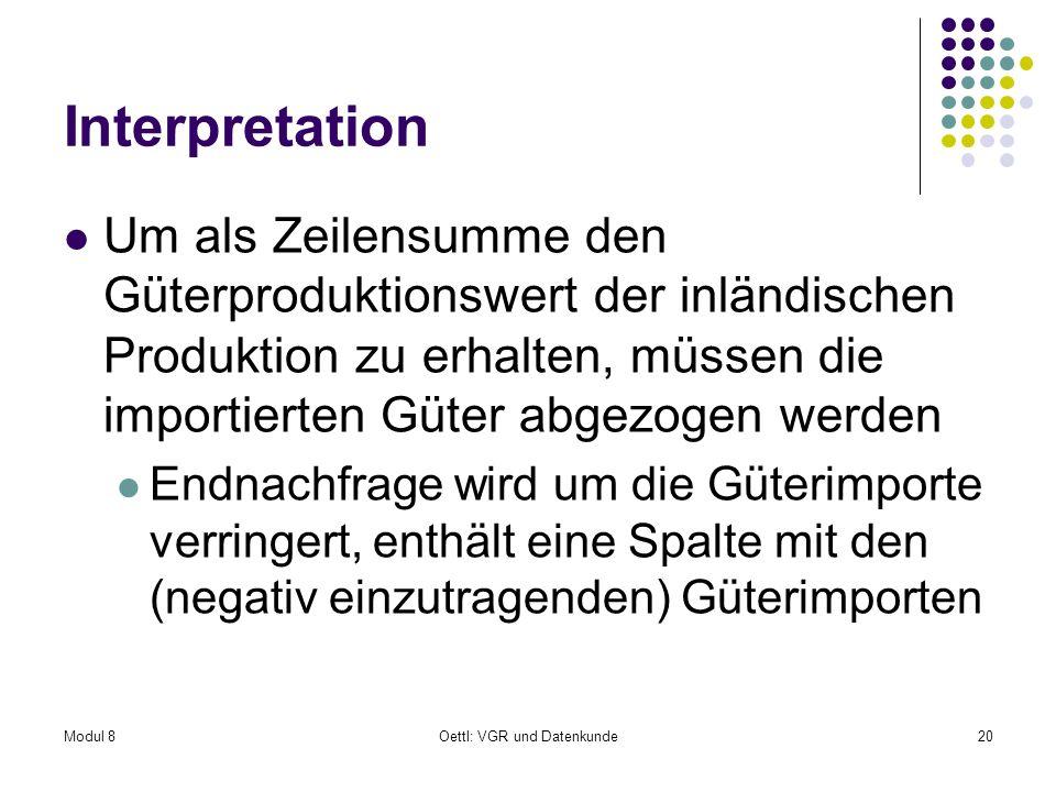 Modul 8Oettl: VGR und Datenkunde20 Interpretation Um als Zeilensumme den Güterproduktionswert der inländischen Produktion zu erhalten, müssen die impo
