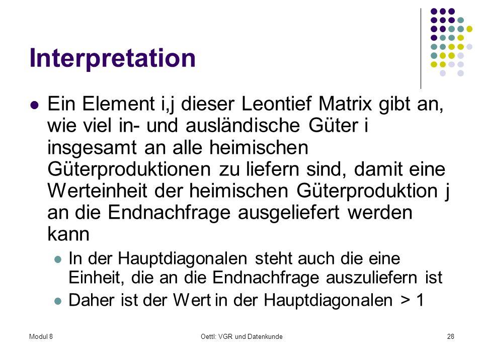 Modul 8Oettl: VGR und Datenkunde28 Interpretation Ein Element i,j dieser Leontief Matrix gibt an, wie viel in- und ausländische Güter i insgesamt an a