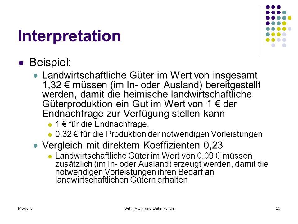 Modul 8Oettl: VGR und Datenkunde29 Interpretation Beispiel: Landwirtschaftliche Güter im Wert von insgesamt 1,32 müssen (im In- oder Ausland) bereitge