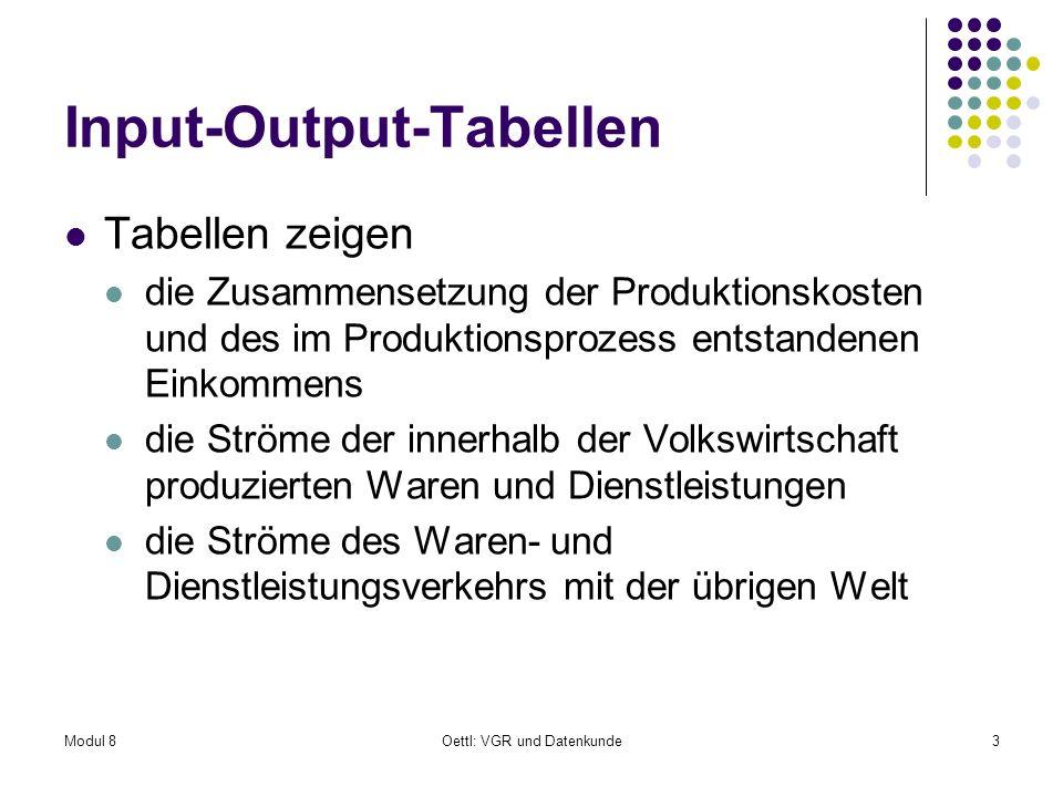 Modul 8Oettl: VGR und Datenkunde3 Input-Output-Tabellen Tabellen zeigen die Zusammensetzung der Produktionskosten und des im Produktionsprozess entsta