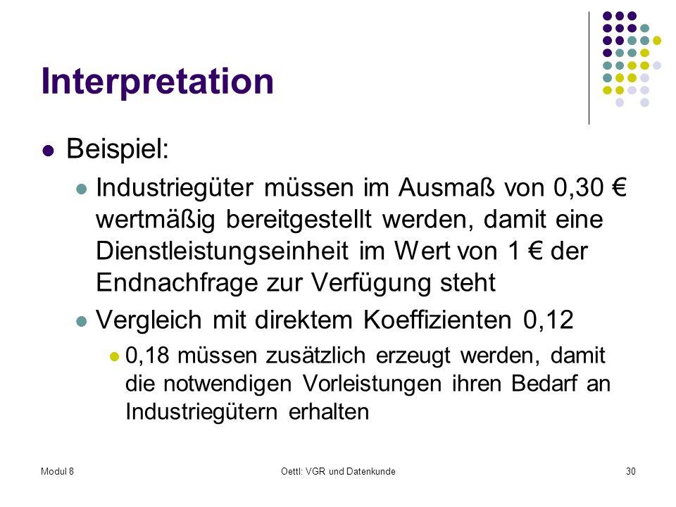 Modul 8Oettl: VGR und Datenkunde30 Interpretation Beispiel: Industriegüter müssen im Ausmaß von 0,30 wertmäßig bereitgestellt werden, damit eine Diens
