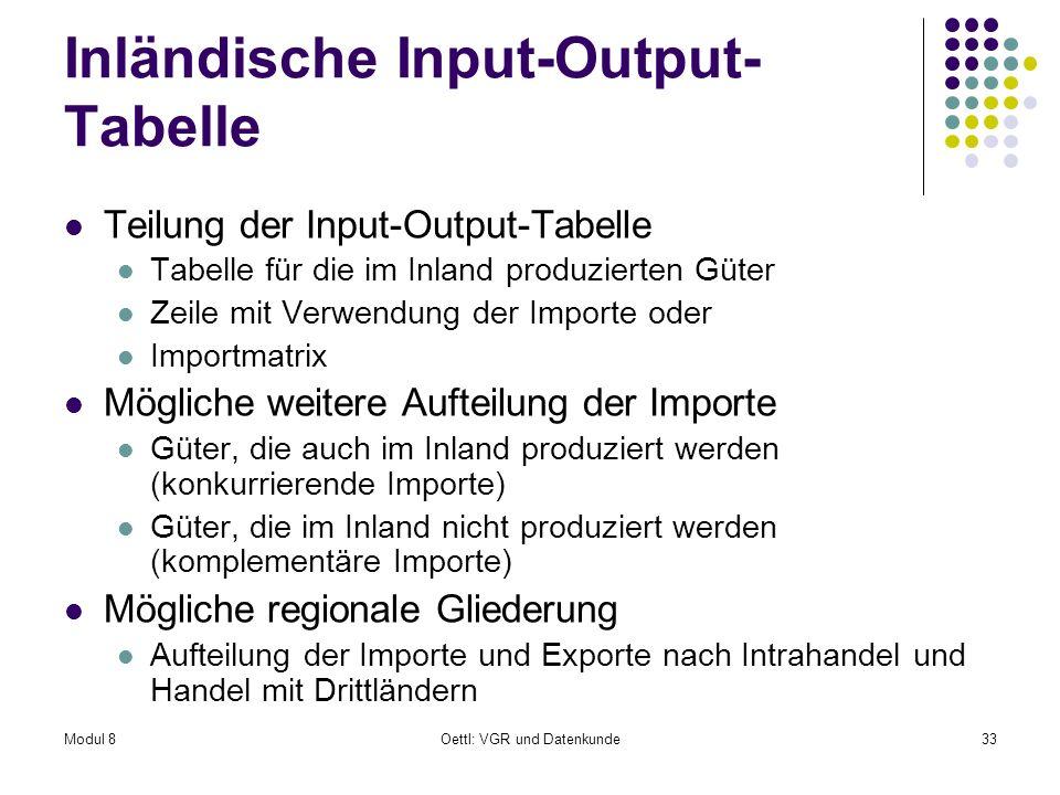 Modul 8Oettl: VGR und Datenkunde33 Inländische Input-Output- Tabelle Teilung der Input-Output-Tabelle Tabelle für die im Inland produzierten Güter Zei
