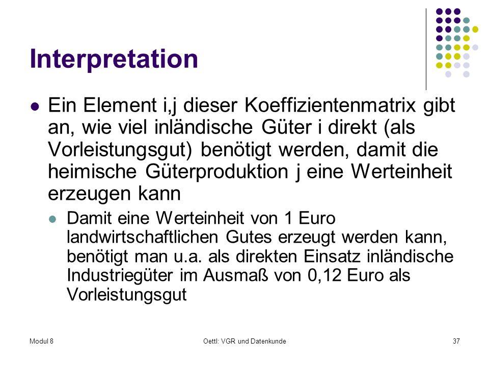 Modul 8Oettl: VGR und Datenkunde37 Interpretation Ein Element i,j dieser Koeffizientenmatrix gibt an, wie viel inländische Güter i direkt (als Vorleis