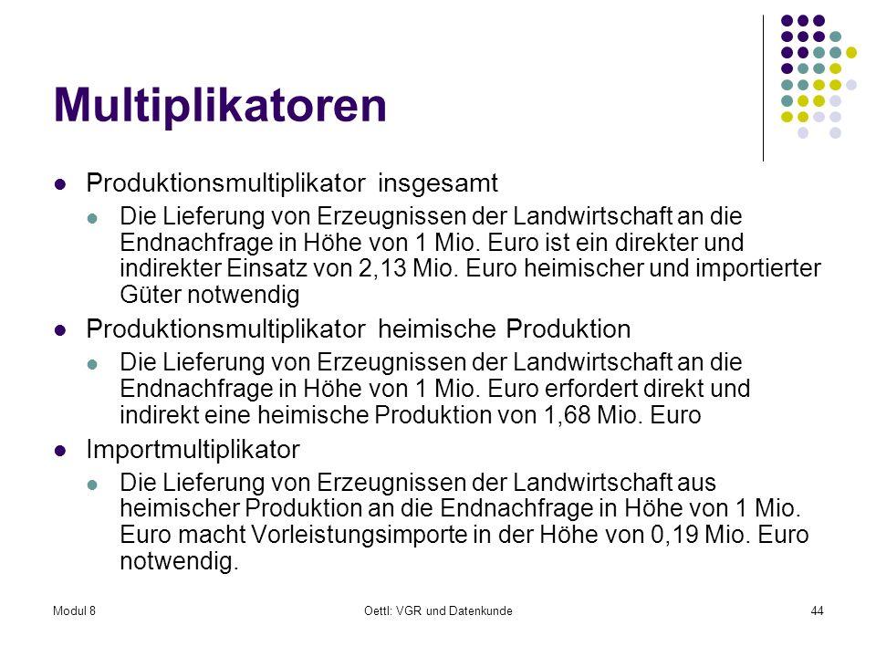 Modul 8Oettl: VGR und Datenkunde44 Multiplikatoren Produktionsmultiplikator insgesamt Die Lieferung von Erzeugnissen der Landwirtschaft an die Endnach