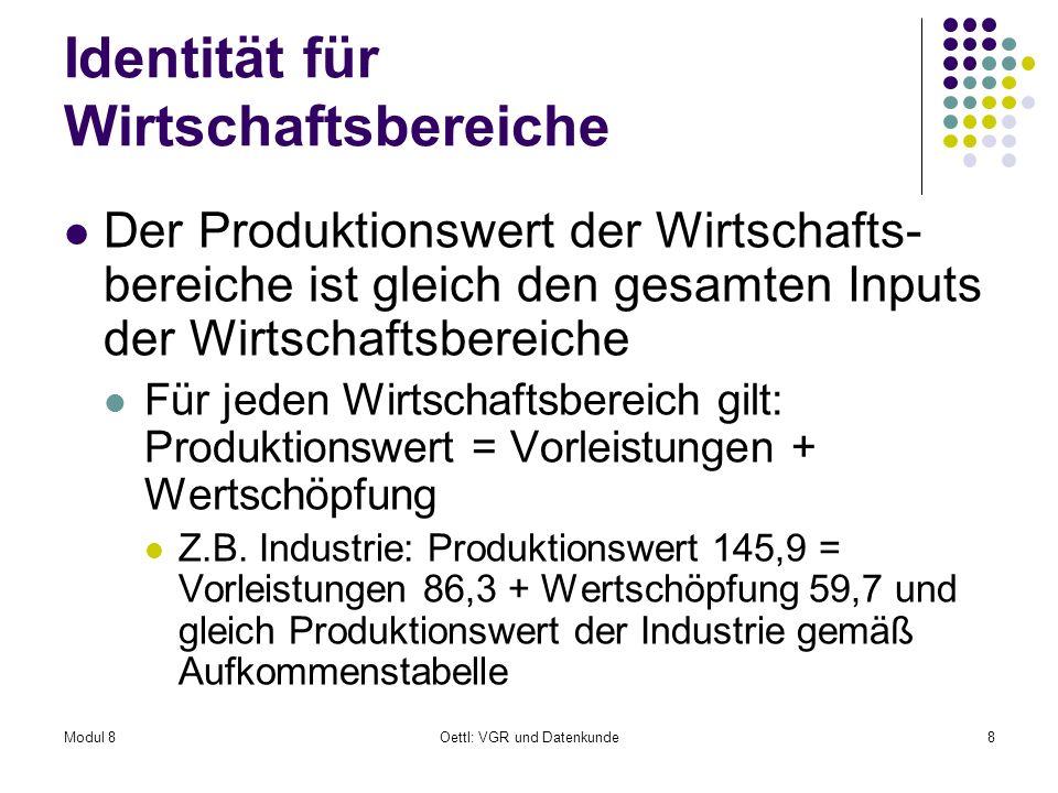 Modul 8Oettl: VGR und Datenkunde8 Identität für Wirtschaftsbereiche Der Produktionswert der Wirtschafts- bereiche ist gleich den gesamten Inputs der W